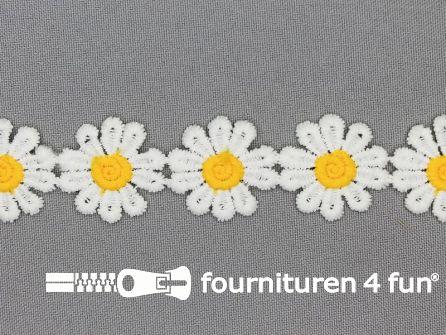 Bloemenkant 26mm geel - wit
