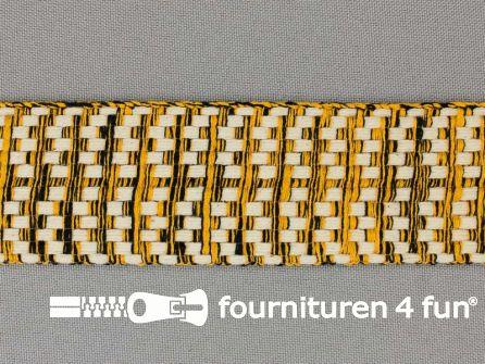 Bohemian sierband 40mm zwart - ecru - oker geel