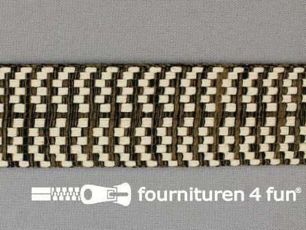 Bohemian sierband 40mm zwart - ecru - bruin