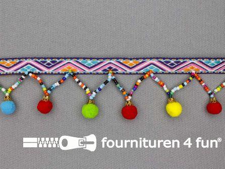 Bolletjesband 40mm multicolor met kraaltjes