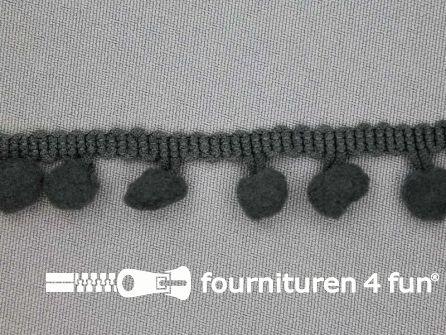 Bolletjesband 17mm donker grijs