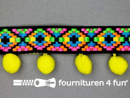 Bolletjesband 41mm neon kleuren groen - geel