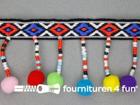 Bolletjesband 47mm multicolor met kraaltjes