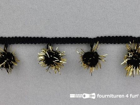 Bolletjesband met lurex 25mm zwart - goud