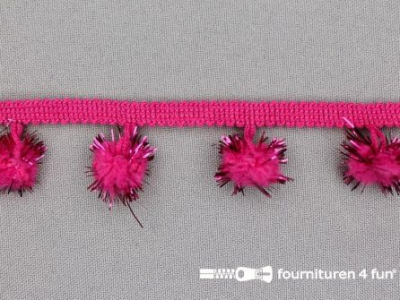 Bolletjesband met lurex 25mm fuchsia roze