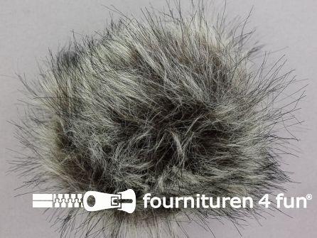 Bont pompon 12cm gemêleerd grijs