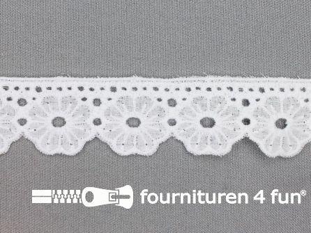 Broderie kant 28mm bloem wit