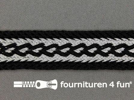 Brokaat band 20mm zwart / zilver