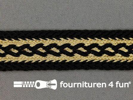 Brokaat band 20mm zwart / goud