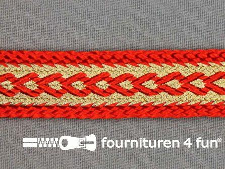 Brokaat band 20mm oranje-rood / goud