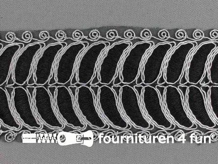Brokaat band 55mm zwart zilver