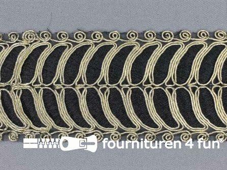 Brokaat band 55mm zwart goud