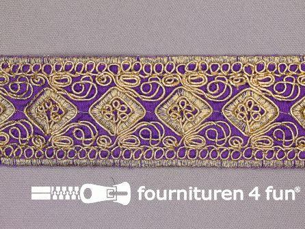 Brokaat band 43mm paars goud