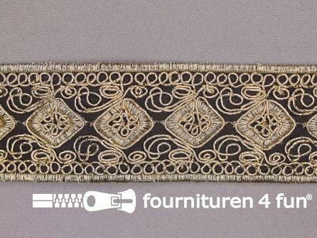 Brokaat band 43mm zwart goud