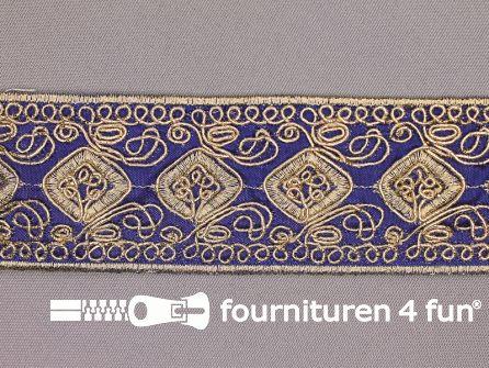 Brokaat band 43mm donker blauw goud