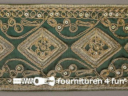 Brokaat band 86mm donker groen goud