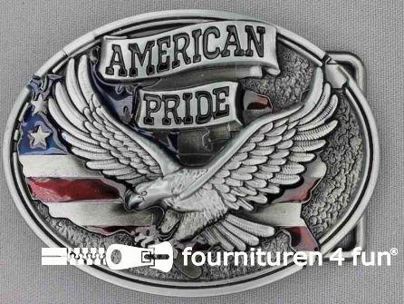 Buckle American pride black silver