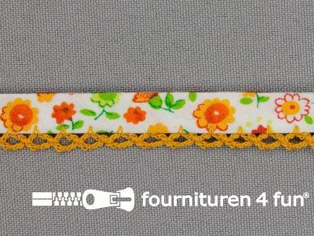 Deco biasband print 12mm bloemen oranje