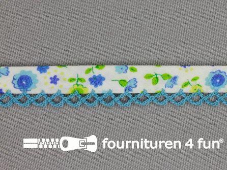 Deco biasband print 12mm bloemen aqua blauw
