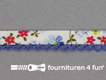 Deco biasband print 12mm bloemen kobalt blauw - rood