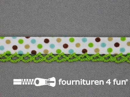 Deco biasband print 12mm met gekleurde stippen