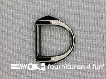 Luxe D-ring 25mm glimmend zwart