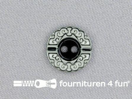 Design knoop 17mm zwart - wit