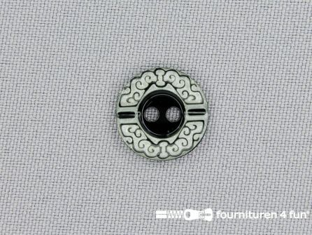 Design knoop 14mm zwart - wit