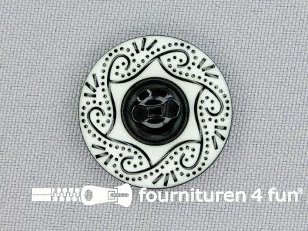Design knoop 25mm zwart - wit