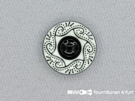 Design knoop 20mm zwart - wit