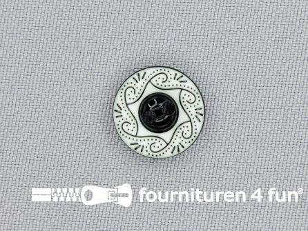Design knoop 15mm zwart - wit