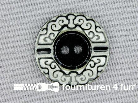 Design knoop 27mm zwart - wit