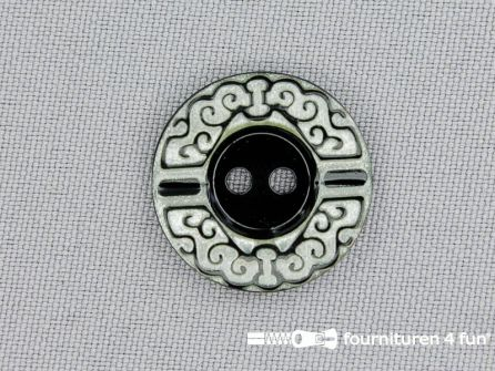 Design knoop 22mm zwart - wit
