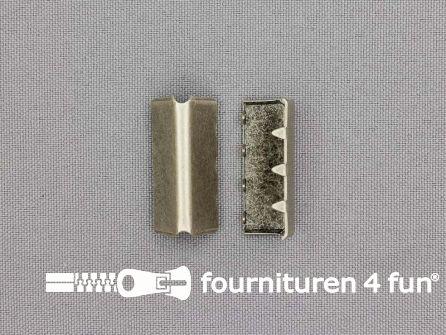Eindstuk voor tassenband of riem 28mm oud zilver