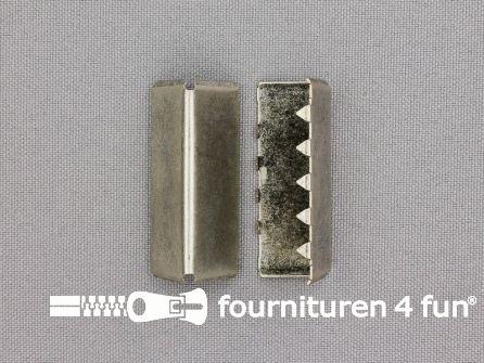 Eindstuk voor tassenband of riem 38mm oud zilver