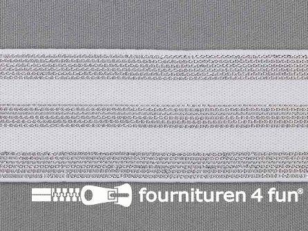 Elastiek met zilveren strepen wit 40mm
