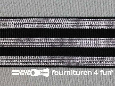 Elastiek met zilveren strepen zwart 40mm