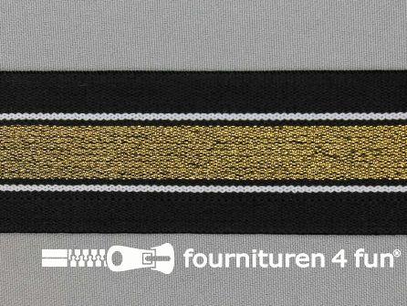 Elastiek met gouden streep zwart - wit 40mm