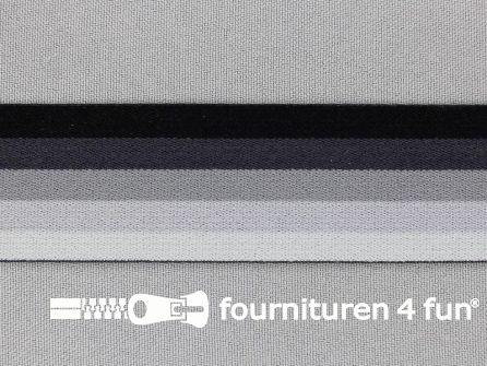 Elastiek strepen 32mm grijs - zwart