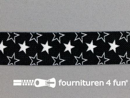 Elastiek met sterren 25mm zwart - wit