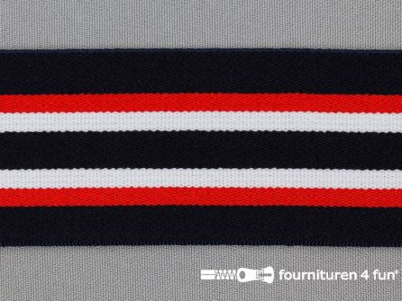 Elastiek gestreept 45mm zwart wit rood blauw