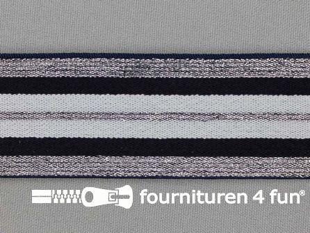 Elastiek met zilveren strepen zwart - wit 40mm
