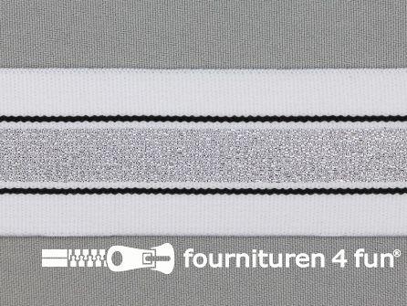 Elastiek met zilveren streep wit - zwart 40mm