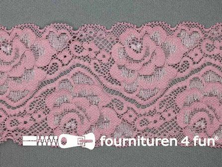 Elastisch kant 80mm oud roze