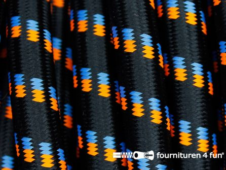 COUPON 1,50 meter Elastisch koord 12mm zwart - oranje - blauw