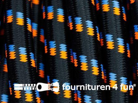 COUPON 1,40 meter Elastisch koord 12mm zwart - oranje - blauw