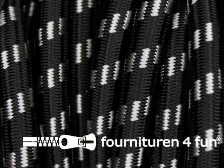 Elastisch koord 9mm zwart - wit