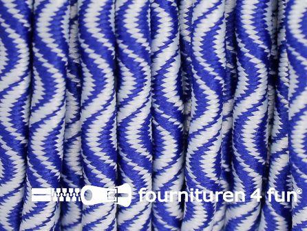 Elastisch koord 3mm wit - blauw golfjes