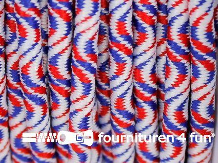 Elastisch koord 3mm rood wit blauw golfjes