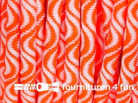 Elastisch koord 3mm wit - neon oranje golfjes